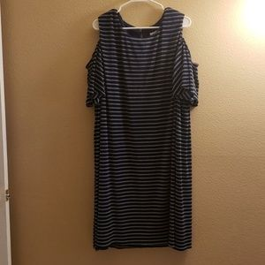 London Times Woman Blue Striped Dress 22W